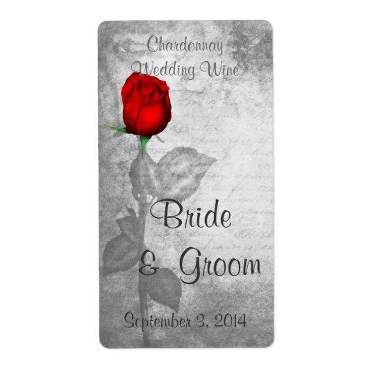 Vintage Red Rose Wedding Shipping Label