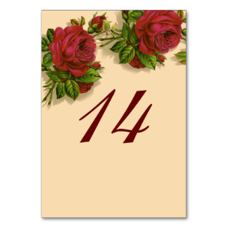 Vintage Red Rose Wedding Table Number Card Table Card