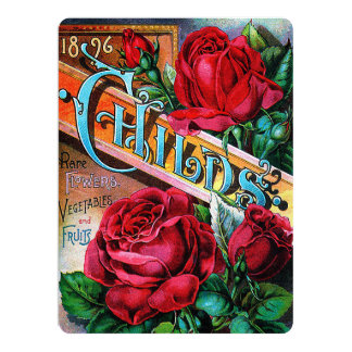 Vintage Red Roses 17 Cm X 22 Cm Invitation Card