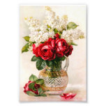 Vintage Red Roses and Baby's Breath Photo Art