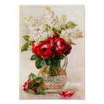 Vintage Red Roses and Baby's Breath Poster