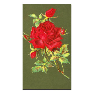 Vintage Red Roses Double-Sided Standard Business Cards (Pack Of 100)