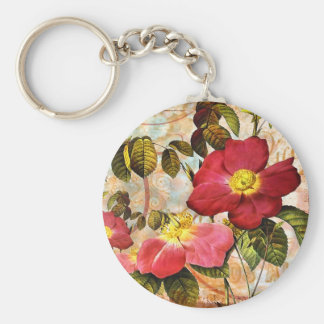 Vintage Red Roses Collage Keychains