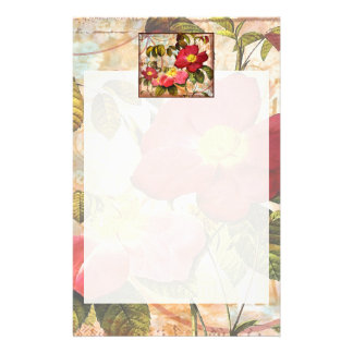 Vintage Red Roses Collage Personalized Stationery