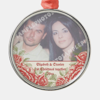 Vintage Red roses Couple's first Christmas photo Christmas Ornament