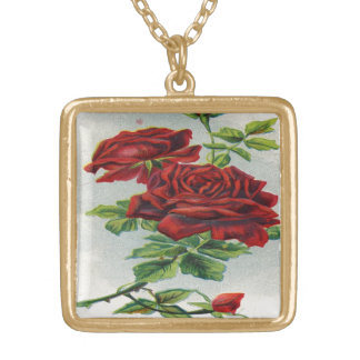 Vintage, Red Roses, Girlfriend Birthday Personalized Necklace