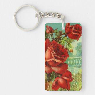 Vintage Red Roses Single-Sided Rectangular Acrylic Key Ring