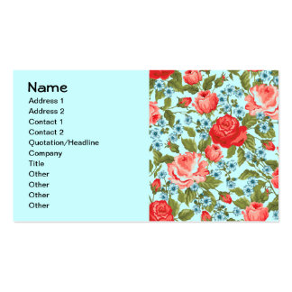 Vintage Red Roses Little Blue Flowers Business Card