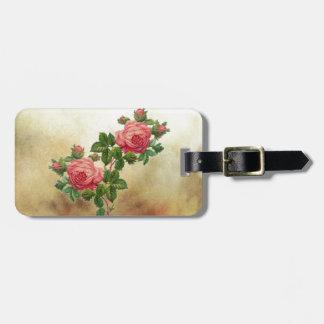 vintage red roses luggage tag