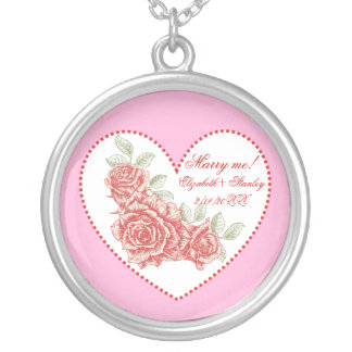 Vintage red roses Marry me Love Valentine's Day Necklaces