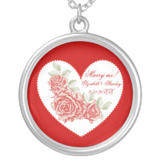 Vintage red roses Marry me Love Valentine's Day Custom Necklace