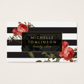 Vintage Red Roses Striped Salon II Business Card