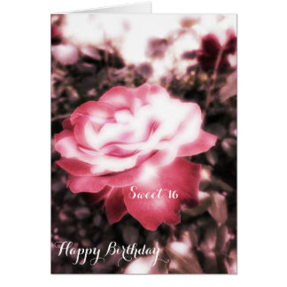 Vintage Red Roses Sweet 16 Card