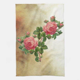 vintage red roses tea towel