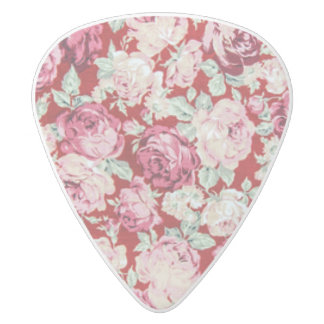 vintage red roses,victorian,floral,romantic,girly, white delrin guitar pick