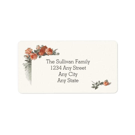 Vintage Red Roses Wedding Name and Address Address Label