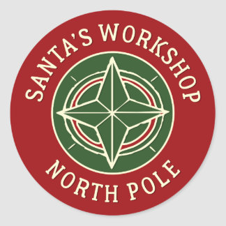 Vintage red Santa's Workshop North Pole sticker