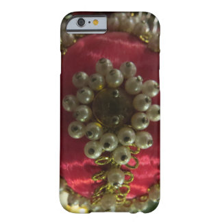 Vintage Red Satin And Pearls Barely There iPhone 6 Case