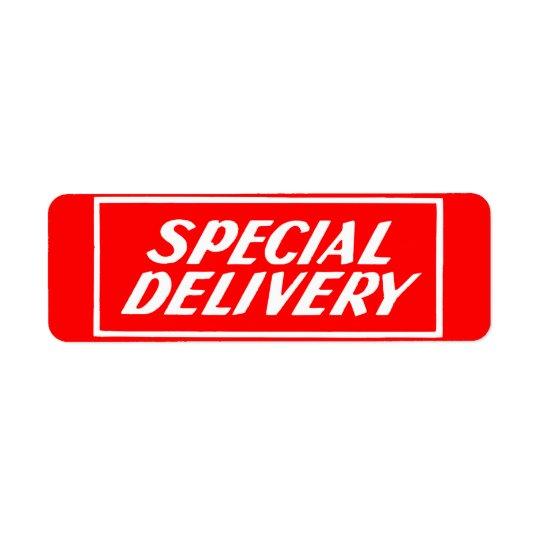 Vintage Red Special Delivery Mailing Sticker Label
