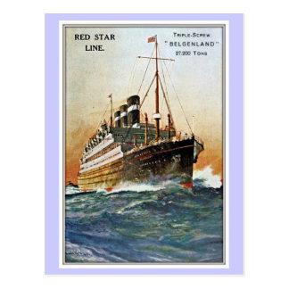 Vintage Red Star Line Belgenland Postcard