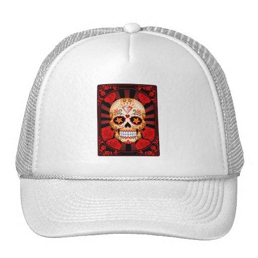 Vintage Red Sugar Skull with Roses Poster Hat
