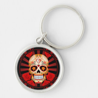 Vintage Red Sugar Skull with Roses Poster Keychains
