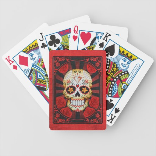 Vintage Red Sugar Skull with Roses Poster Card Decks