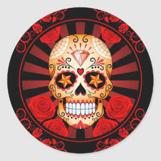 Vintage Red Sugar Skull with Roses Poster Classic Round Sticker