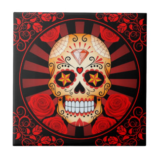 Vintage Red Sugar Skull with Roses Poster Tile
