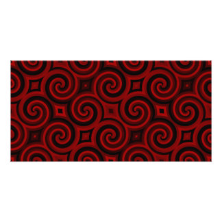 Vintage Red Swirly Texture Photo Card Template