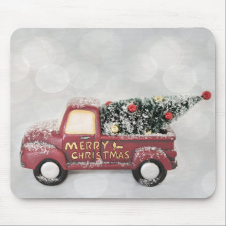 Vintage Red Toy Truck with a Christmas Tree Mouse Mat