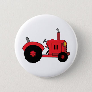 vintage red tractor 6 cm round badge