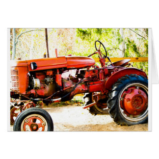 Vintage Red Tractor Card
