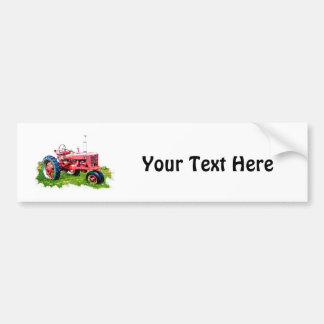 Vintage Red Tractor in the Field Bumper Sticker