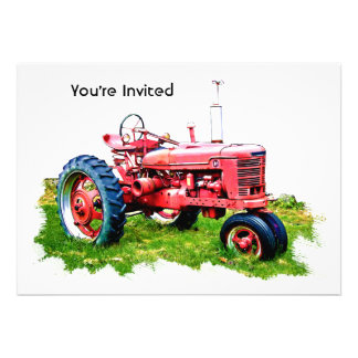 Vintage Red Tractor in the Field Personalized Invitation