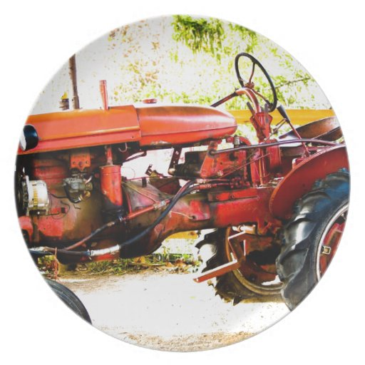 Red Tractor Plate Outlit : Vintage red tractor plate zazzle