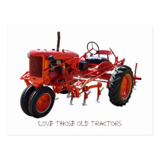 Vintage Red Tractor Postcard