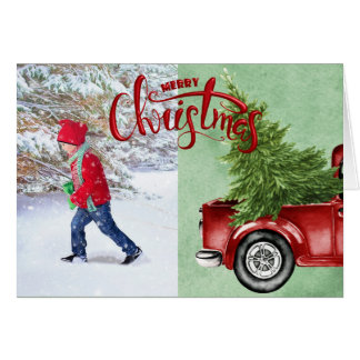 Vintage Red Truck and Pine Forest Photo Christmas Card