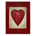 Vintage Red Valentine Floral Heart Postcard