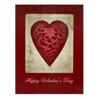 Vintage Red Valentine Heart with Flowers Postcard