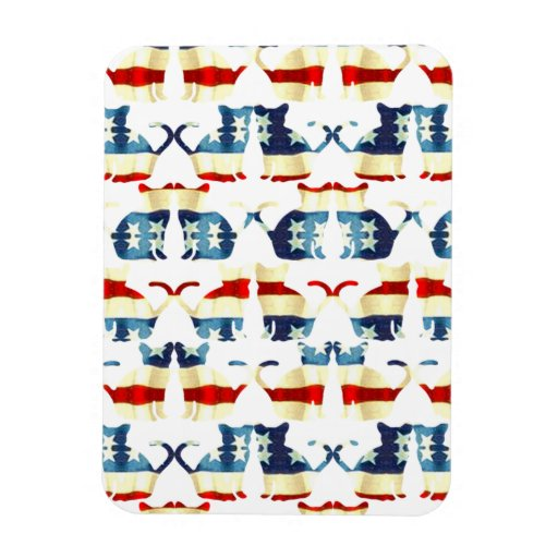 VINTAGE RED WHITE AND BLUE CAT PATTERN RECTANGULAR MAGNET