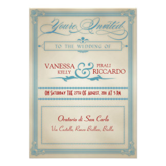 Vintage Red White Blue Wedding Invitation