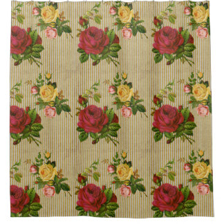 Vintage Red Yellow Peach Roses Gold Glitter Stripe Shower Curtain