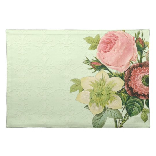 Vintage Redoute Floral Rose Anemone Clematis Placemats