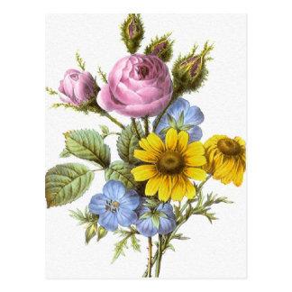 Vintage Redoute Flower Bouquet Postcard