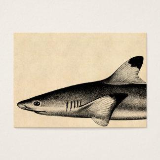 Vintage Reef Shark Illustration Black Tipped Business Card