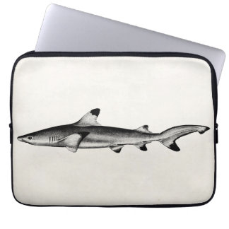 Vintage Reef Shark Illustration - Black Tipped Laptop Computer Sleeve