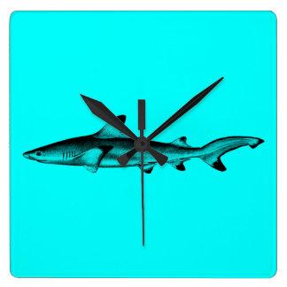 Vintage Reef Shark Illustration Neon Teal Blue Square Wall Clock