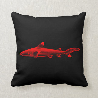 Vintage Reef Shark Illustration Red Black Sharks Cushion