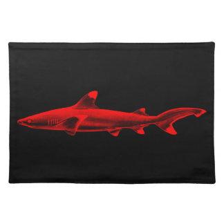 Vintage Reef Shark Illustration Red Black Sharks Placemat